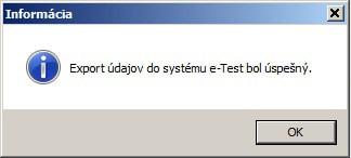 Export údajov do systému e-test